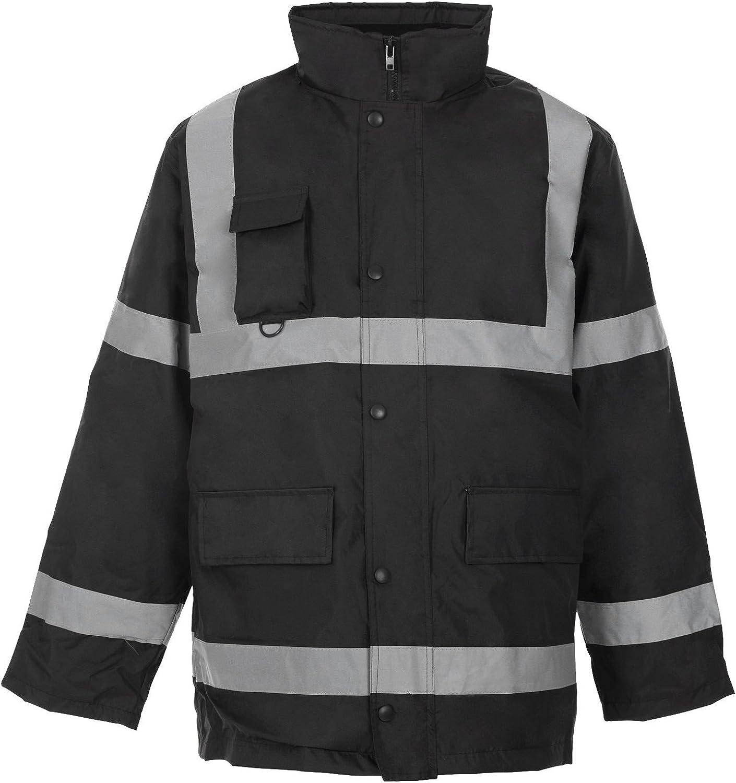Forever Mens Two 2 Tone Hi Viz Parka Reflective Waterproof Padded Workwear Jacket