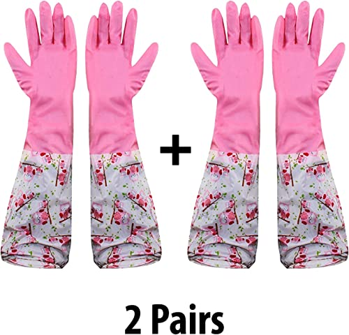 HOKIPO® Reusable Odour Free PVC Flocklined Kitchen Dish Washing Gloves, Free Size, Elbow Length, 2 Pair product image