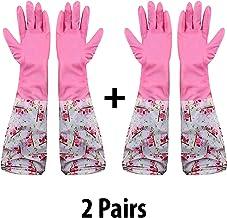 HOKIPO® Reusable Odour Free PVC Flocklined Kitchen Dish Washing Gloves, Free Size, Elbow Length, 2 Pair