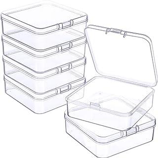 6 Pièces Petites Boîtes de Conteneurs de Stockage de Perles en Plastique Transparent avec Couvercle à Charnière pour Colle...