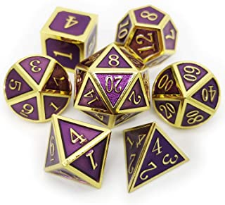 Haxtec 7 Die D&D Metal Dice Set Gold Purple DND Dice for Dungeons and Dragons..
