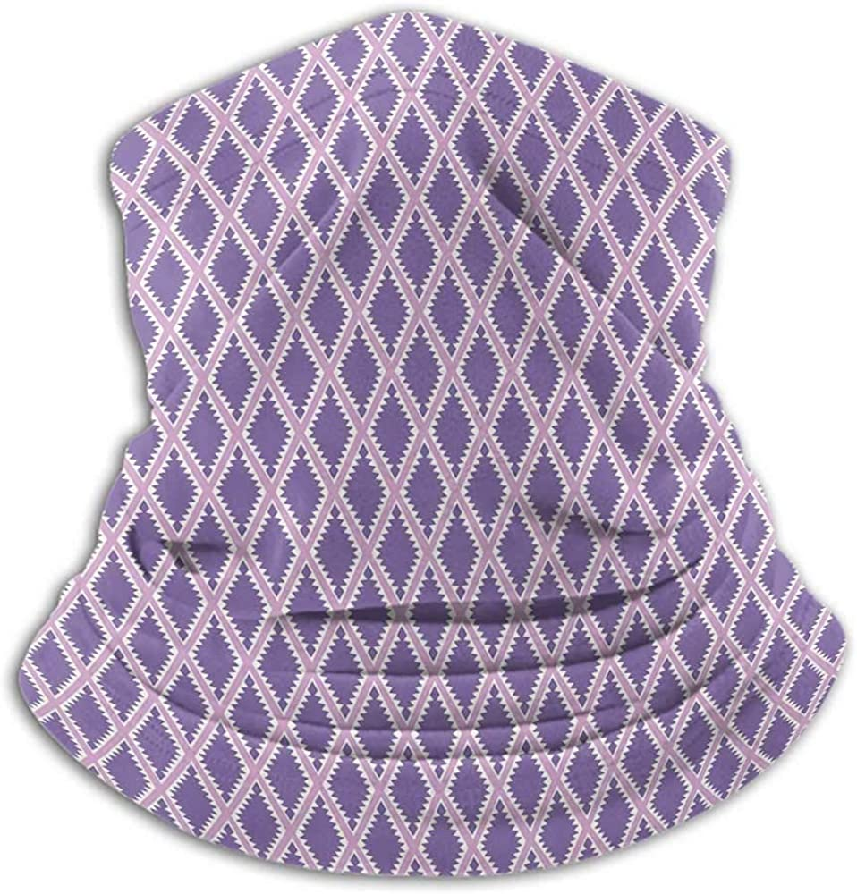 Neck Gaiter Women Geometric Sun Dust Bandanas For Fishing Motorcycling Running Rectangles with Triangle Pattern Geometrical Design with Pale Palette Lilac Lavander White