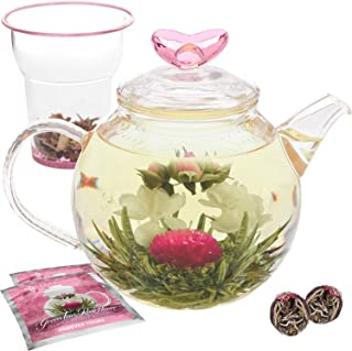 Teabloom Eternal Love Teapot – Glass Teapot (36 oz), Heart-Topped Lid, Glass Loose Leaf Tea Infuser + 2 Gourmet Blooming Teas - Thermal Shock Resistant - Stovetop Safe