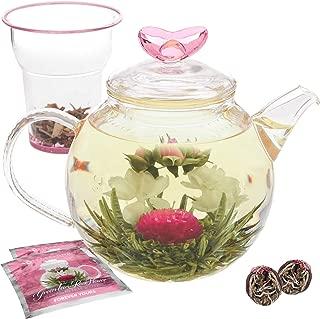 Teabloom Eternal Love Teapot – Glass Teapot (36 oz), Heart-Topped Lid, Glass Loose Leaf Tea Infuser + 2 Gourmet Blooming Teas - Thermal Shock Resistant - Stovetop Safe