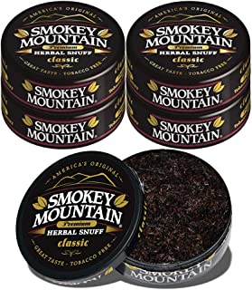 Smokey Mountain Classic Flavored Snuff, 5 Cans, no Tobacco and no Nicotine, Refreshing Herbal and Smokeless Chew Alternative