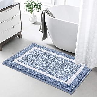 Color&Geometry バスマット 玄関マット 吸水 速乾 足ふきマット 滑り止め付 丸洗える お風呂 ドア ふわふわ(ブルー, 40*60cm)