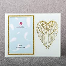 Fashioncraft Glass Photo Frame with Silver Glitter Angel Wings, Elegant Tabletop Decoration, Sparkling Centerpiece Accent, Family Pic Display, 4Ó x 6Ó Picture Holder Baptism, Holy Communion - White