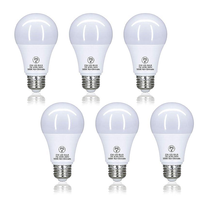 決済祝う慢性的LED電球 口金26mm 60W形相当 7W 昼光色 700ルーメン(LM) 一般電球 広配光タイプ 密閉器具対応 断熱材施工器具対応 省エネ (セット:6個入り) PSE認証済