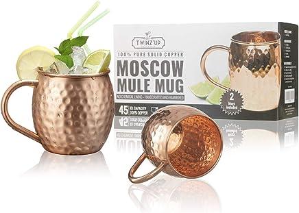 Moscow Mule Kupfer Becher - 2 Kupfertassen Twinz'Up - Gehämmert und handgefertigt - 45cl Fassungsvermögen - Großartig für jedes gekühlte Getränk - Perfektes Geschenk für Damen & Herren (Mugs - Tasse) preisvergleich bei geschirr-verleih.eu