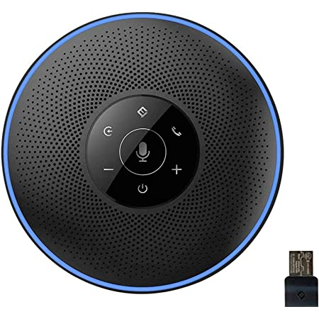 スピーカーフォン eMeet マイクスピーカー ワイヤレススピーカーフォン USB/Bluetooth/AUX対応 遠隔会議用 最大8人まで対応 360˚全方向集音 エコー・ノイズのキャンセリング 高音質 LED指示 位置検出機能 web会議用・多人数遠隔会議用・セミナー・家族会話用 Skype/zoom/Facetime/Wechat通話アプリ対応 OfficeCore M2 ブラック
