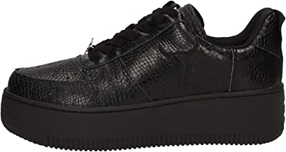 Windsor Smith Women's Racerr Sneaker Made of Black Leather with Python Print