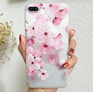 iPhone 7 Plus Soft Case,LuoMing 3D Emboss Beautiful Flower Pattern Slim fit Shock-Absorbing Soft Rubber Clear TPU Skin Cover Case for iPhone 7 Plus (Cherry Blossom)