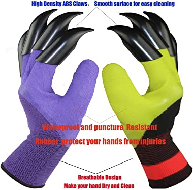 4 Pairs Garden Gloves With Fingertips Claws,Best Gift For Gardener,2 Pairs Working Genie Gloves With Double Claws,2 Pairs wit