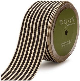May Arts RG-5-10 1-1/2-Inch Wide Ribbon, Black Grosgrain Stripe
