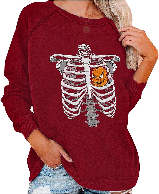 Hotkey Halloween Sweatshirts for Women, Womens Crewneck Long Sleeve Tops Pumpkin Skeleton Print Pullover Casual Top Blouses