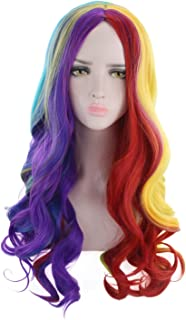 """AGPTEK 23.6"""" Full Long Curly Rainbow, Heat Resistant Wig for Costume Cosplay Party Halloween"""