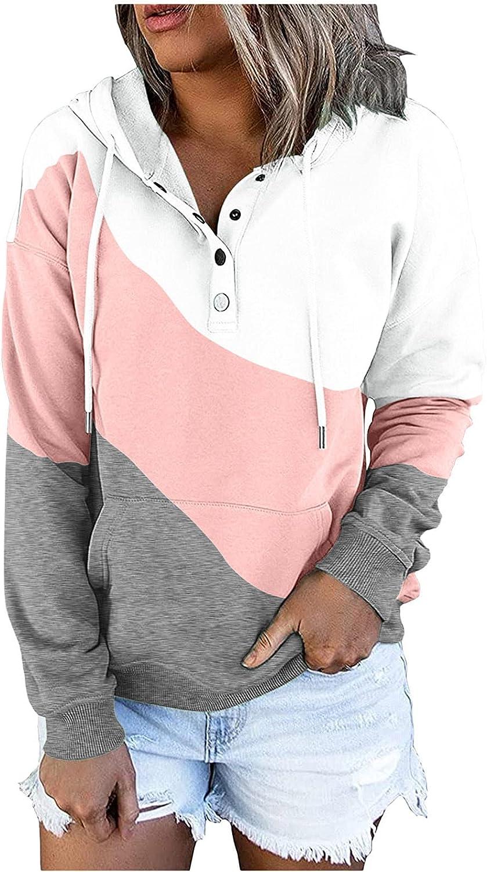 Sweatshirt for Women Color Block Patchwork Casual Activewear Zip up Loose Hoodies Fall Long Sleeve Workout Top