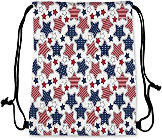 """USA Practical Drawstring Bag,Big Star Figures with American Flag Featured Inner Lines Proud Country Design Decorative for Women,17.7""""L x 36""""W"""