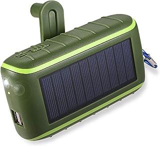 Workingda Solladdare, 10 000 mAh bärbar handvevad telefonladdare 2 USB-portar solenergi bank med LED-ficklampa, karbinhake