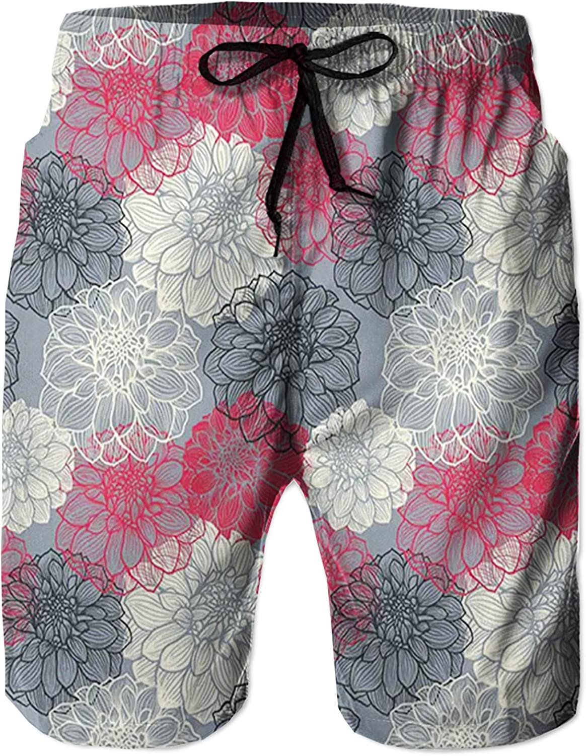 Men's Long Swim Trunks with Mesh Lining Beach Bathing Suits Board Shorts Swimwear with Pockets and No Mesh,Hand Drawn Repeating Big and Small Flowers with Color Element Effects L