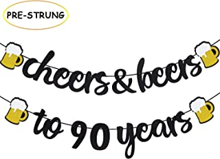 90th Birthday Decorations Cheers & Beers to 90 Years Banner for 90s Birthday Anniversary Party Supplies Black Glitter Decorations - PRESTRUNG