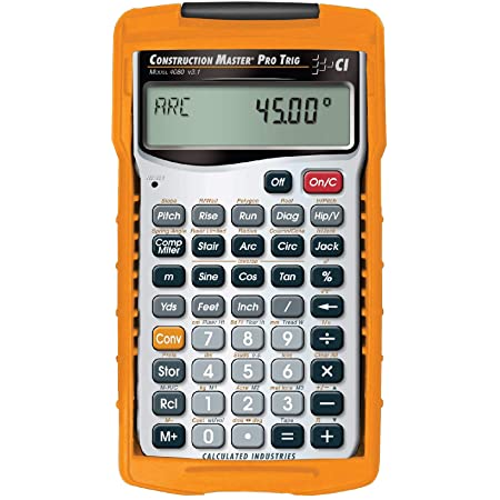 Calculated Industries 4080 Construction Master Pro Trig Advanced Construction Math Feet-Inch-Fraction Calculator with Full Trig Function for Architects, Engineers, Contractors, Estimators and Framers