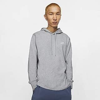 Men's Sportswear Club Jersey Pullover Hoodie, Fleece Hoodies for Men, Dark Grey Heather/White, XS