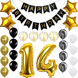 Happy 14th Birthday Banner Balloons Set for 14 Years Old Birthday Party Decoration Supplies Gold Black