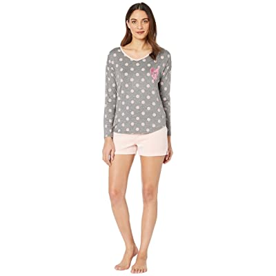 Juicy Couture Juicy Long Sleeve Top/Velour Flare Shorts Set (Charcoal Grey/Pink) Women