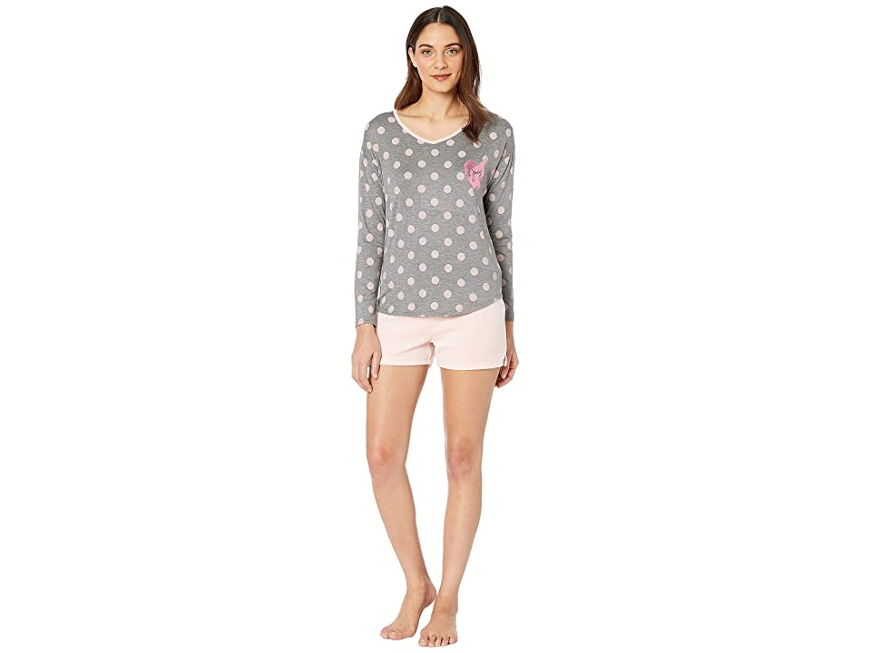 b2d2a370d Juicy Couture Juicy Long Sleeve Top Velour Flare Shorts Set (Charcoal Grey  Pink) Women s Pajama Sets