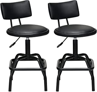 COSTWAY Barstool, Modern Armless Comfortable Adjustable Hydraulic Heavy Duty Steel Frame Stool Bistro Pub, Modern PU Leather Cushion and Backrest for Home, Bar and Shop, Black (2 Retro Style stools)