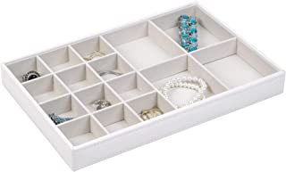 Richards Homewares Organizer Trays, Display and Storage, Holder for Earrings, Bracelets, Necklaces & All Kinds of Jewelries – 16 Compartment-Pebbled White, 12 x 8 x 1.4 ,