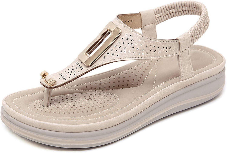 Efficiency Summer Platform Flip Flops Women Solid color Beach Sandals Soft Leather Comfortable Low Heels Flats shoes