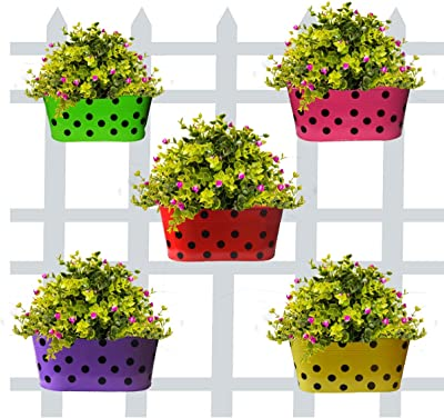 Green Pots Oval Dotted Metal Vertical Railing Planters  Pot with Hanger   Gamla   Home Balcony & Outdoor Garden Decoration 12 Inches Pot (Multicolour,Pack of 5)