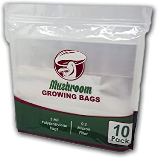 Reinforced Mushroom Grow Bags, 10 Count, Oyster Spawn and Grain Root Substrate Growing Kit with 0.2 Micron Filter, Large ...