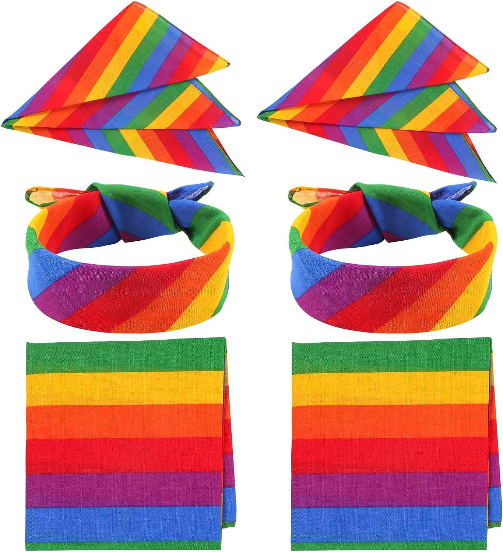 Unime 6 Pack Rainbow Bandana Unisex for National uniform free shipping Party Scarf Popular products Celeb Square