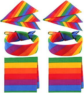 6 Pack Rainbow Bandana Unisex Square Scarf for Party Celebration Supplies