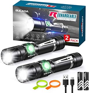 Rechargeable Flashlights S2500 (Battery Included), BUCASA Super Bright LED Tactical Flashlights High Lumens, 3 Modes, Zoom...