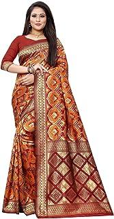 Sarees for Women Banarasi Art Silk Woven Work Saree l Indian Ethnic Wedding Gift Sari with Unstitched Blouse SM-06