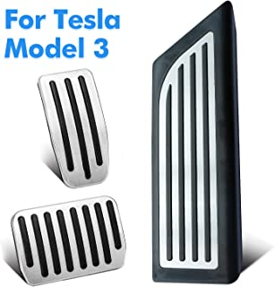 Mizzuco Performance Pedal Covers Pads for Model 3, Brake Pedal + Accelerator Pedal + Left Foot Rest Dead Pedal Mats Stainless Steel Non Drill Set for Tesla Model 3 Car Accessories