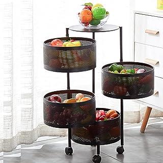LFLF Étagère de Rangement de Cuisine Multicouche Rond, Rack de Stockage de Cuisine, Panier de Rangement de légumes fruitie...