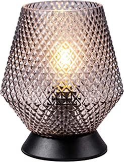 TeHenoo Modern Small Table Lamp, Plug in Lamp with Handblown Vase Glass Shade for Home Decorations, Living Room, Bedside, Nightstand, Coffee Table,Dining Room