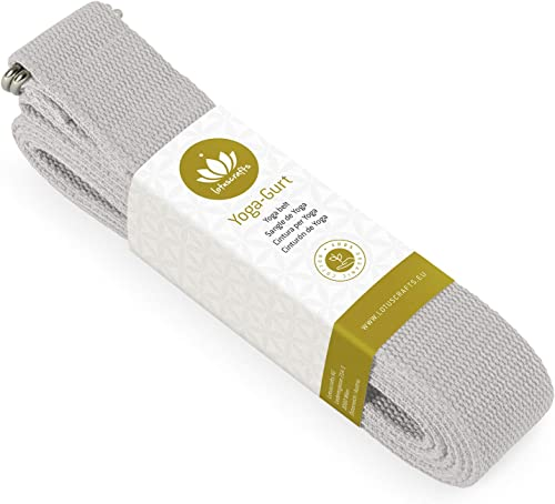 Lotuscrafts Yoga Strap for Stretching - 100% Organic Cotton - Yoga Belt Strap with Adjustable D-Ring Buckle - Yoga Ba...