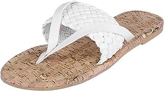 Litthing Summer Sandals Flip Flops Woven Flip Flops Woven Beach Flat Slippers
