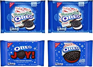 Oreo Cookies Peppermint Bark and Winter Red Creme Variety Pack of 4 Bags - 2 Bags of Each Version - Limited Edition Christmas Chocolate Sandwich Cookie Flavors - 52.10 oz Total