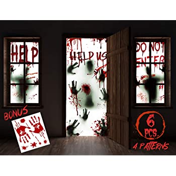 "KD KIDPAR 7Pcs Halloween Window Door Decoration Covers Set, Includes 4Pcs 60x30"" Window Clings and 2Pcs 80x36"" Door Posters with Bloody Handprints Scary Silhouette, Indoor and Outdoor Décor for Party"