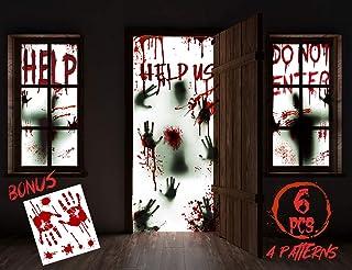 "KD KIDPAR 6Pcs Halloween Window Door Decoration Covers Set, Includes 4Pcs 60x30"" Window Clings and 2Pcs 80x36"" Door Poster..."