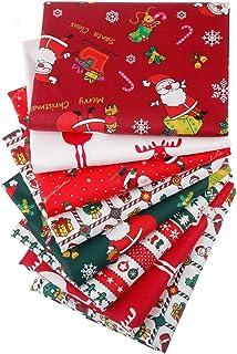 Aubliss 8pcs Fat Quarter Fabric Bundles (100% Cotton - 20in x 20in / 50cm x 50cm) Quilting Cotton Craft Fabric Pre-Cut Squ...