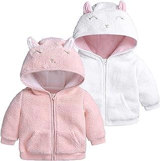 Baby Kids Hooded Pullover Tops, 0-18M Newborn Boys Girls Fleece Cartoon Ear Coat Jacket Fall Winter Warm Outerwear