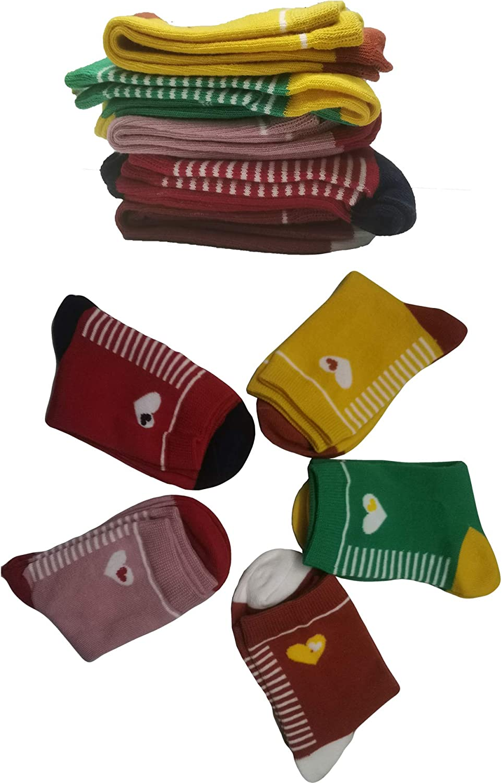 Feeke Kids Cotton Crew Socks, Girls Soft Fashion Novelty Casual Dress Socks Gift for 1-12 Years Old, 5 Pairs